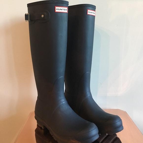 Hunter - Hunter Classic Tall Matte Navy Rubber Rain Boots -4591