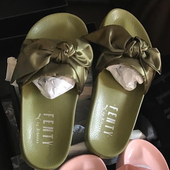 wholesale dealer 09f38 43dac Rihanna Fenty bow slides olive Boutique