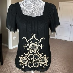 Matty M Embroidered Peasant Top