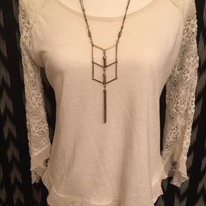 Derek Tops - White Top with Lace Sleeves and Fluttery Hem