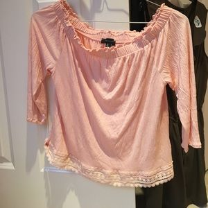Primark Tops - Peach ruffle off the shoulder shirt
