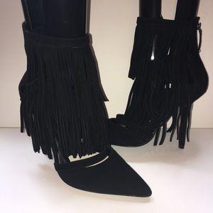 Alice + Olivia Shoes - Black suede Alice & Olivia fringe booties