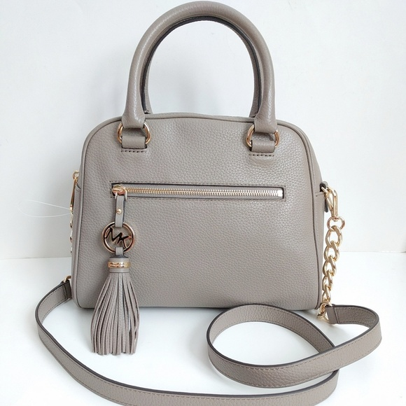 315f2be21a47 Michael Kors Knox Medium Satchel Tassel Dark Taupe