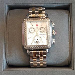 Michele Accessories - Michele two tone diamond deco watch