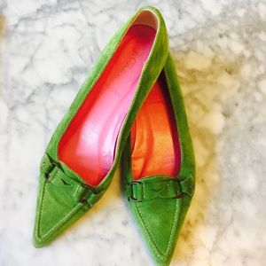 J. Crew Shoes - J. Crew Green and Pink pointy toe ballet flats.