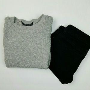 Topshop PETITE Sweaters - Topshop Petite Gray Crew Sweatshirt