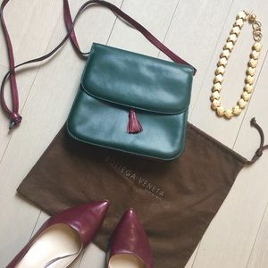 Bottega Veneta Handbags - Vintage Bottega Burgundy / Forest Leather Mini Bag