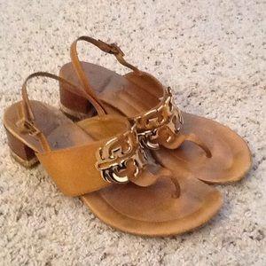 Tory Burch Shoes - TORY BURCH LOGO LEATHER THONG SANDALS HEELS sz 7.5