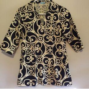J. McLaughlin Tops - McLaughlin black patterned shirt size 4