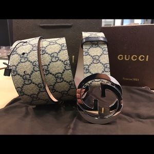 Gucci Other - Gucci Blue Monogram Canvas Belt Silver Buckle