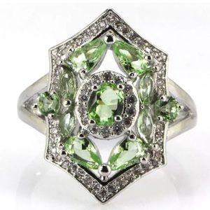 Jewelry - This Ring 😍Green Tsavorite Garnet, White CZ
