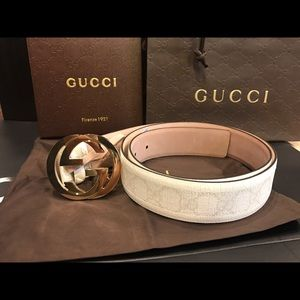 Gucci Other - Gucci White Monogram Canvas Belt Gold GG Buckle