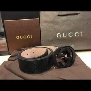 Gucci Other - Gucci Impreme Black Shiny Belt Black GG Buckle