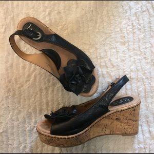 b.o.c. Shoes - B.O.C black flower leather wedges size 8