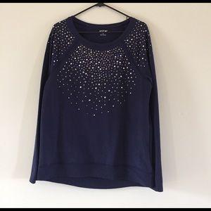 Apt. 9 Tops - Studded navy sweatshirt