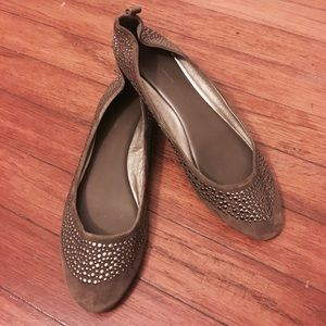 Banana Republic Olive Green Gold Stud Ballet Flats