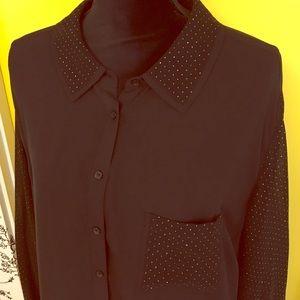 Women's Plus Size 22W Sejour Long Black & Gold Top