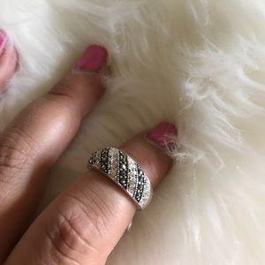 Marcasite fine silver ring