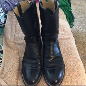 Justin Boots Shoes - Black Justin cowboy boots 9.5 women's