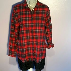 Soft Surroundings Tops - Soft Surroundings oversized plaid top with beading
