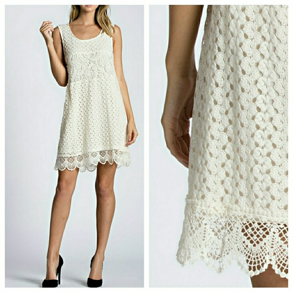EVIEcarche Dresses & Skirts - 🎉🎉HP🎉🎉 Ivory Lace Sleeveless Dress