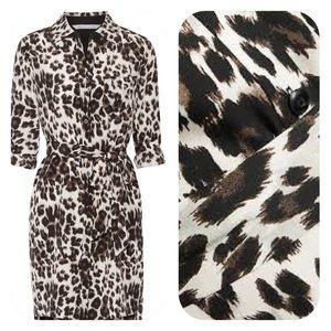 Diane von Furstenberg Dresses & Skirts - DVF Silk Prita Shirtdress in Snowcat Leopard