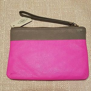 Fossil Handbags - SALE🌹 FOSSIL Keely Pink Mouse Gray Wristlet,  NWT