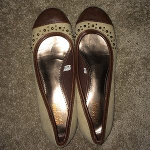 Brown and Tan Leather Studded Flats