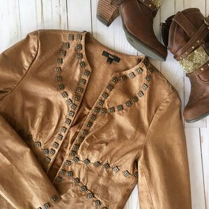 Reba Jackets & Blazers - Brown leather distressed studded jacket
