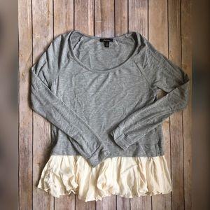 Ella Moss Tops - Ella Moss grey and cream ruffled shirt size small