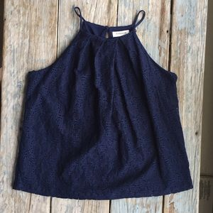 Anthropologie Tops - Monteau navy lace Top