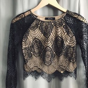 ANGL Tops - Angl Lace Crop Top