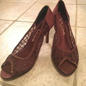 Nina Shoes - Brown sparkle and mesh heel