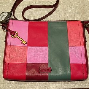 Fossil Handbags - FOSSIL Emma X-body Colorblock Bag and Charm NWT