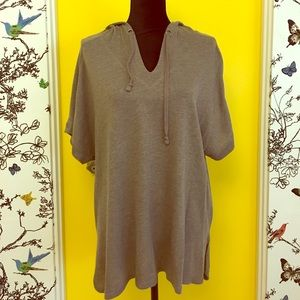 Sejour Tops - Women's Plus Size 1X Mouse Brown Knit Hoodie