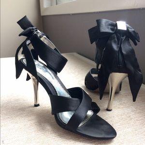 Diba Shoes - Black Satin Ribbon Heels