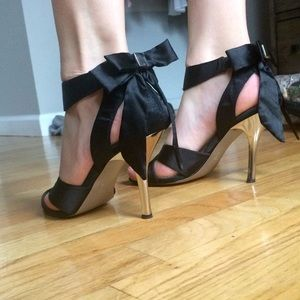 Black Satin Ribbon Heels