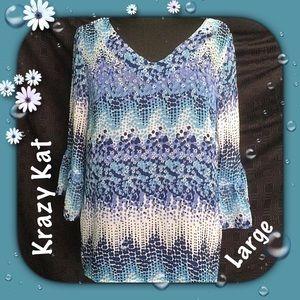 Krazy Kat Tops - Krazy Kat Pullover / NWOT / Separate Blue Lining