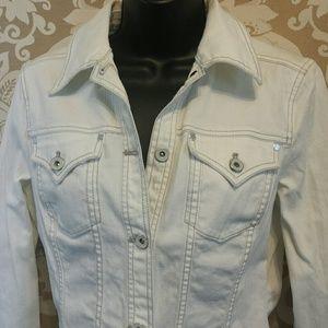 DKNY Jeans Short White Jean Bomber Jacket