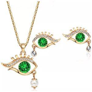 Custom Jewelry - Swarovski Crystal Green Eye Necklace Set DF100