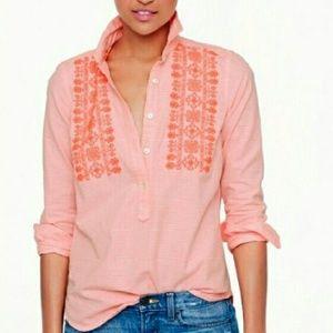 J. Crew Tops - J. Crew Pink Embroidered Top Shirt Sz 00