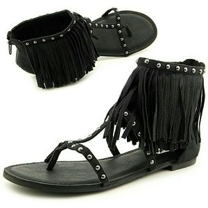 Not Rated Shoes - Suede Fringe Trimmed Studded Sandals NIB