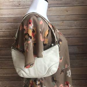 Coach white leather hobo bag