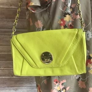 Elliott Lucca lime green clutch with strap