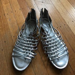 Fergie Shoes - Fergie Silver Gladiator Sandals size 9 1/2