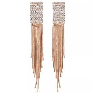 custom Jewelry - Swarovski Crystal Gold Waterfall Earrings DF100