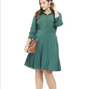 Eloquii Dresses & Skirts - Eloquii FIT & FLARE SHIRT DRESS IN JUNGLE GREEN