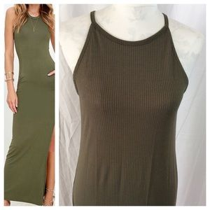 Dresses & Skirts - Army Green Ribbed Maxi Dress