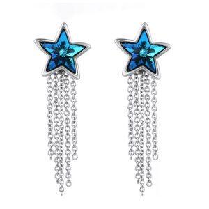 custom Jewelry - Swarovski Crystal Blue Star Dangle Earrings DF100