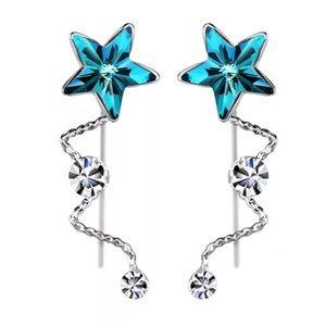 custom Jewelry - Swarovski Crystal Blue Dangle Star Earrings DF100